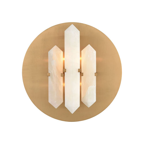 Annees Folles White and Aged Brass Two-Light Wall Sconce