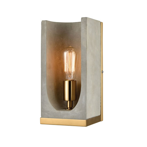 Shelter Concrete and New Aged Brass One-Light Wall Sconce
