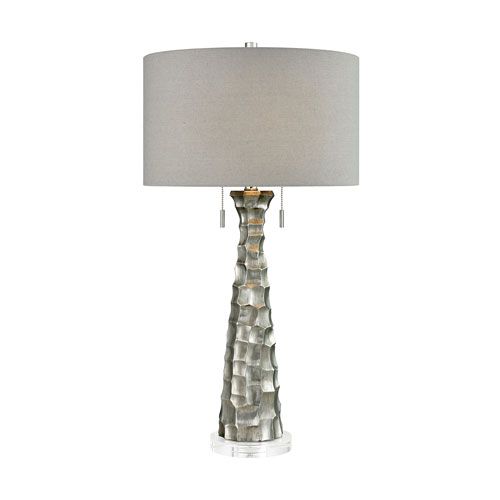 Bite Antique Silver 33-Inch Two-Light Table Lamp