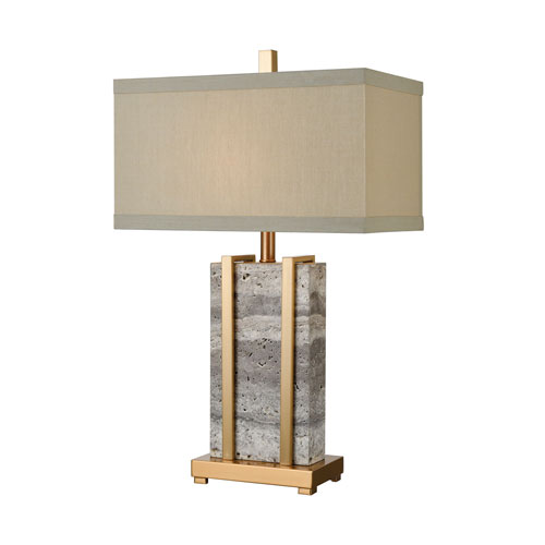 Harnessed Cafe Bronze and Grey Marble 29-Inch One-Light Table Lamp