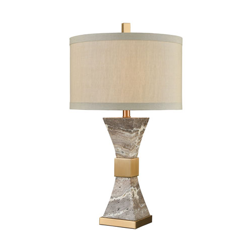 Clutch Cafe Bronze and Grey Marble 28-Inch One-Light Table Lamp