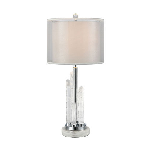 Frostpoint Rock Crystal and White Marble 26-Inch One-Light Table Lamp