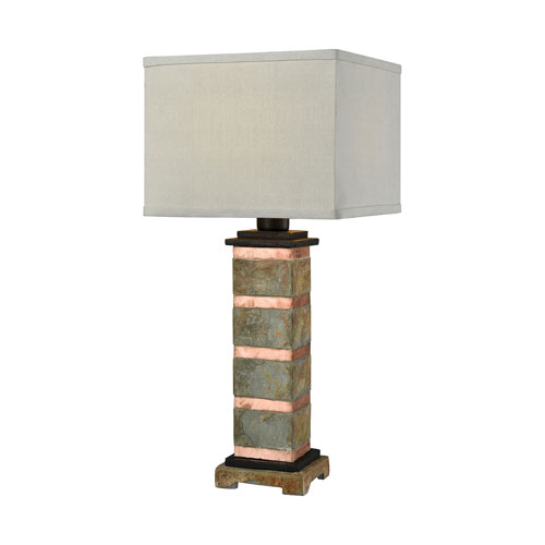 Controlled Burn Natural Slate and Copper 27-Inch One-Light Table Lamp
