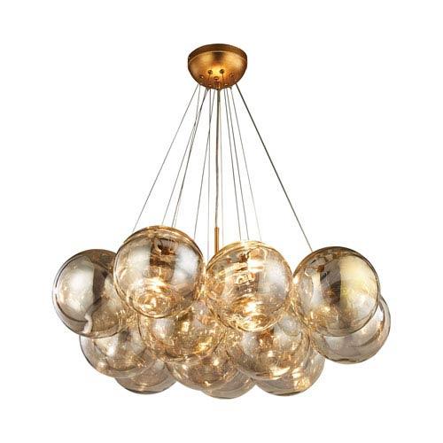 Dimond Cielo Antique Gold Leaf Three-Light Chandelier - Dimond Cielo Antique Gold Leaf Three Light Chandelier 1140 010