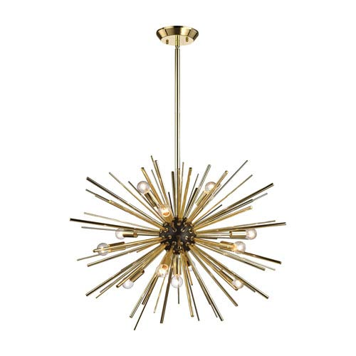 Starburst Polished Gold and Oil Rubbed Bronze 12-Light Pendant
