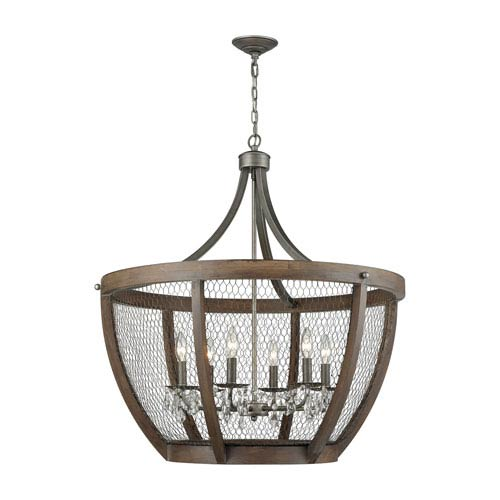 Renaissance Invention Weathered Zinc Six-Light Chandelier