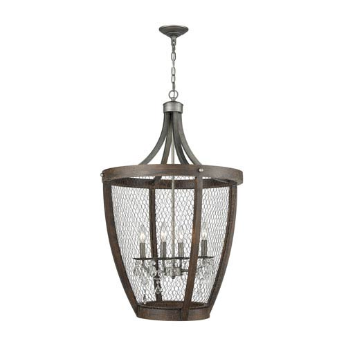 Renaissance Invention Weathered Zinc Four-Light Chandelier