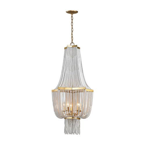 Chaumont Antique Gold Leaf Five-Light Chandelier