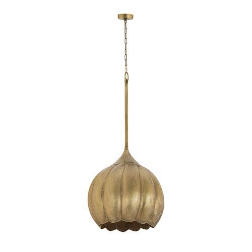 Iron Melon Gold One-Light 20-Inch Pendant