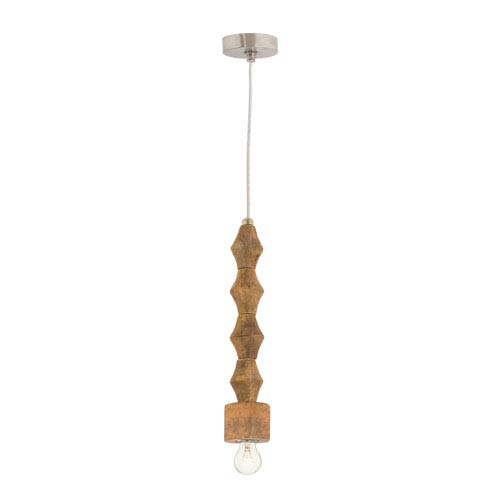 Spindle Natural Mango Wood One-Light 17-Inch Mini Pendant