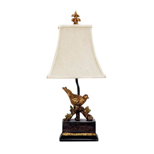 Perching Robin Gold Leaf and Black One Light Table Lamp