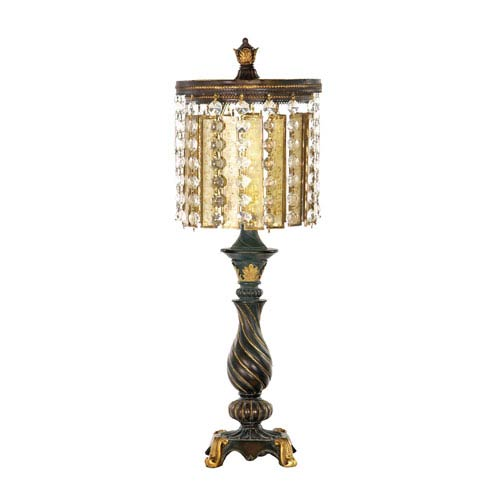 Dimond Amber And Crystal Gold Leaf and Black One Light Table Lamp