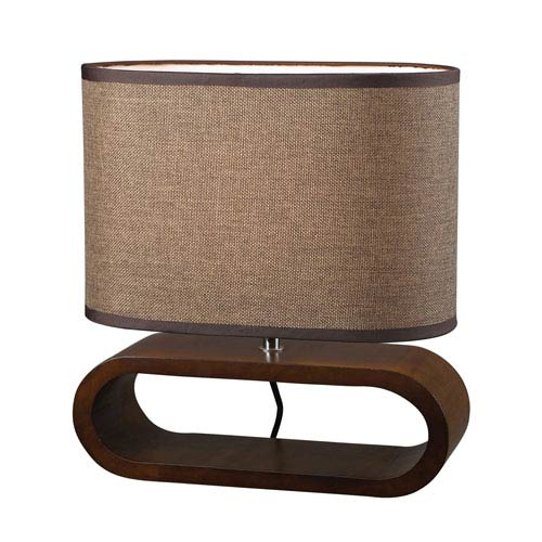 Bennford Natural Stain 12-Inch Oval Wooden Table Lamp