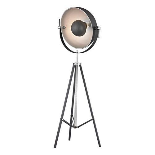 Backstage Matt Black and Polished Nickel Three Light Floor Lamp