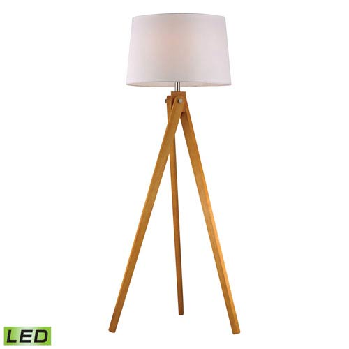 Dimond Wooden Tripod Natural Wood Tone One Light LED Floor Lamp