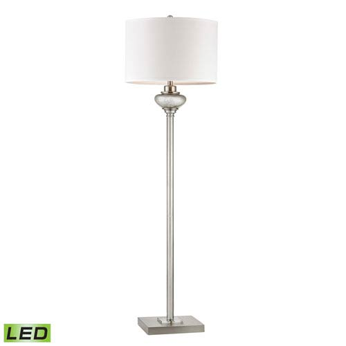 Edenbridge Antique Silver Mercury Glass and Crystal Accents Two Light LED Floor Lamp