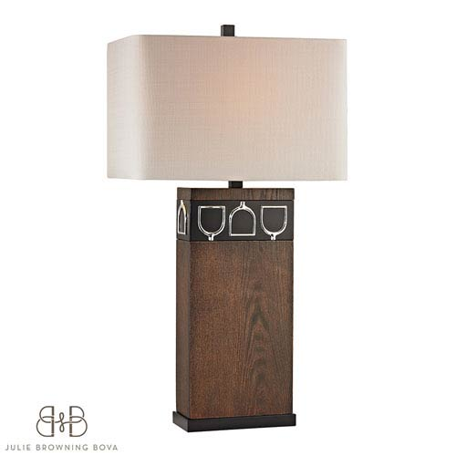 Dimond Triple Tack Hunt Antique Pine, Ob and Chrome One Light Table Lamp
