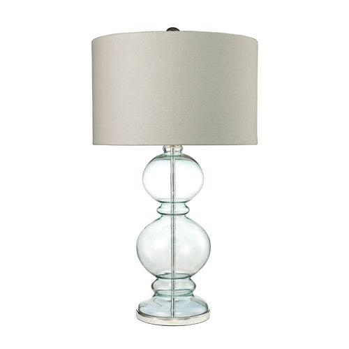 Curvy Glass Clear Light Blue Polished Chrome LED Table Lamp