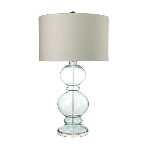 Curvy Glass Clear Light Blue and Polished Chrome One-Light Table Lamp