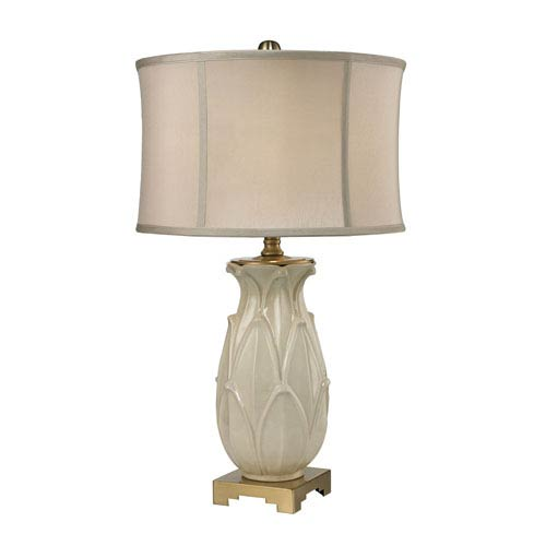 Ceramic Leaf Cream and Antique Brass One-Light Table Lamp