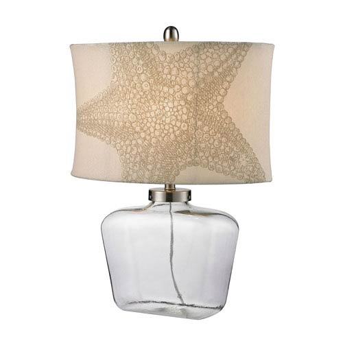 Glass Bottle Clear 26-Inch LED Table Lamp