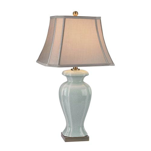 Celadon Green and Brass One-Light Table Lamp