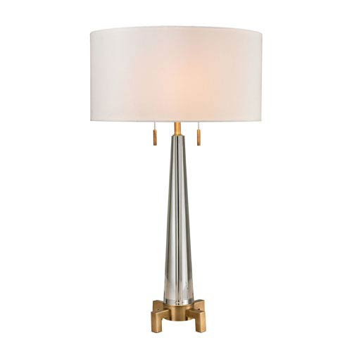 Bedford Clear and Aged Brass Two-Light Table Lamp