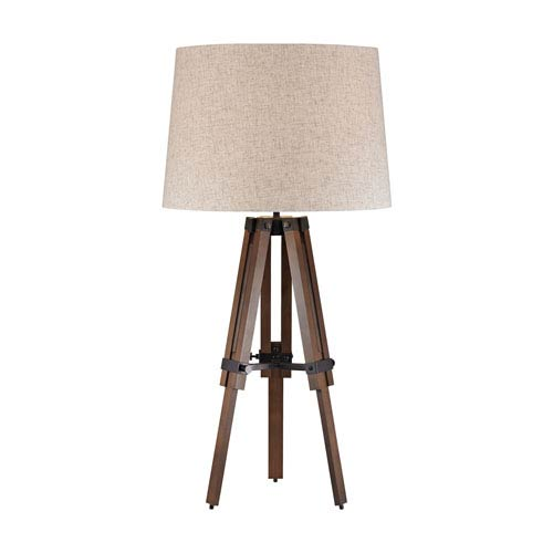 Walnut and Oil Rubbed Bronze One-Light Table Lamp