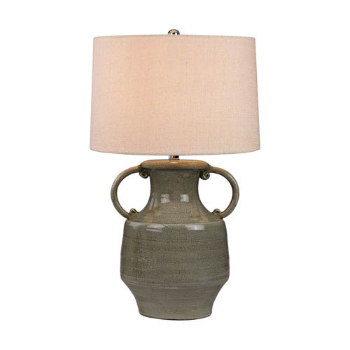 Grey Glaze LED Table Lamp with Bleached Burlap Shade