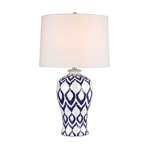 Kew Blue And White Glaze One-Light Table Lamp