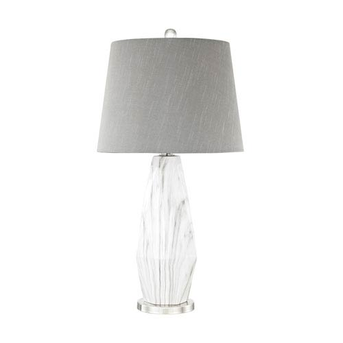 Sochi Polished Nickel White Faux Marble LED Table Lamp
