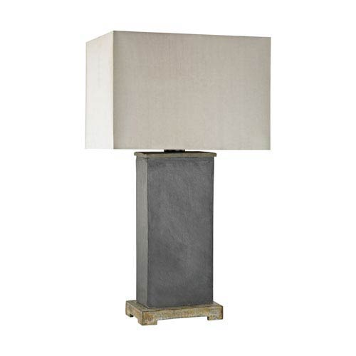 Elliot Bay Grey Slate LED Outdoor Table Lamp with Rectangular Taupe Nylon Hardback Shade With Clear Styrene Liner