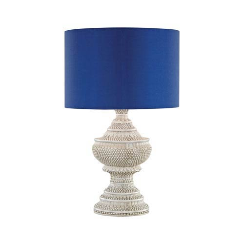 Kokopo Antique White LED Outdoor Table Lamp with Round Ultramarine Nylon Shade With Clear Styrene Liner