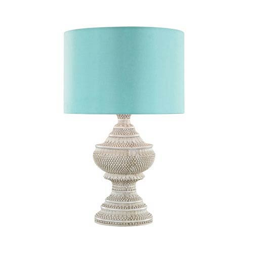 Dimond Kokopo Antique White LED Outdoor Table Lamp with Round Sea Green Nylon Shade With Clear Styrene Liner
