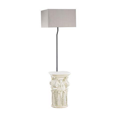 Patras Antique White One-Light Outdoor Floor Lamp with Taupe Shade