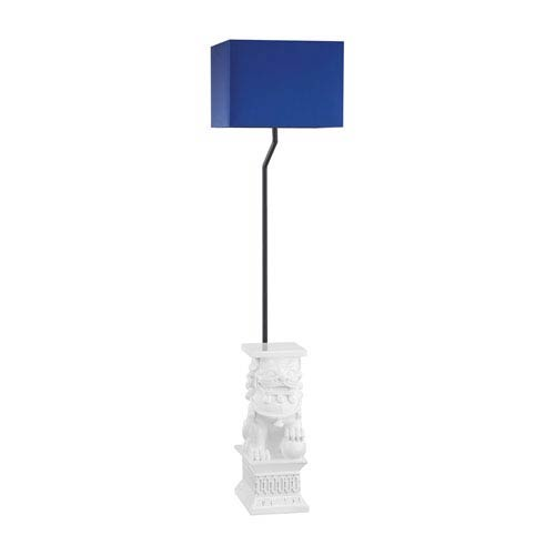 Wei Shi Gloss White LED Outdoor Floor Lamp with Rectangular Navy Blue Nylon Hardback Shade With Clear Styrene Liner