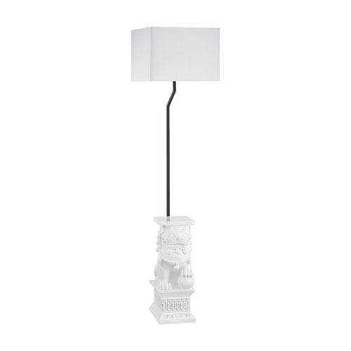 Wei Shi Gloss White LED Outdoor Floor Lamp with Rectangular Pure White Nylon Hardback Shade With Clear Styrene Liner