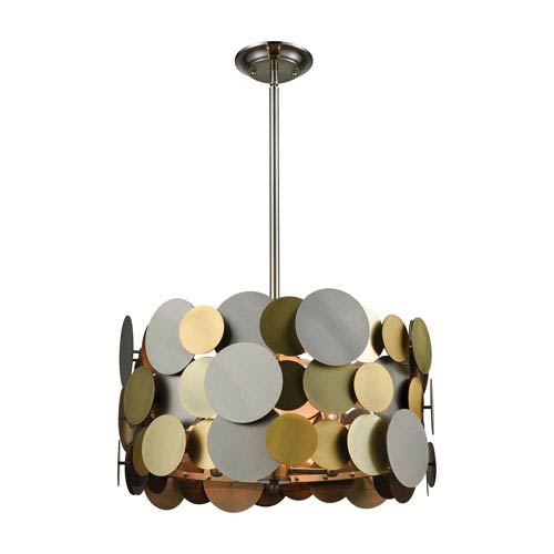 Prizzi Pewter and Gold and Antique Brass Four-Light Pendant