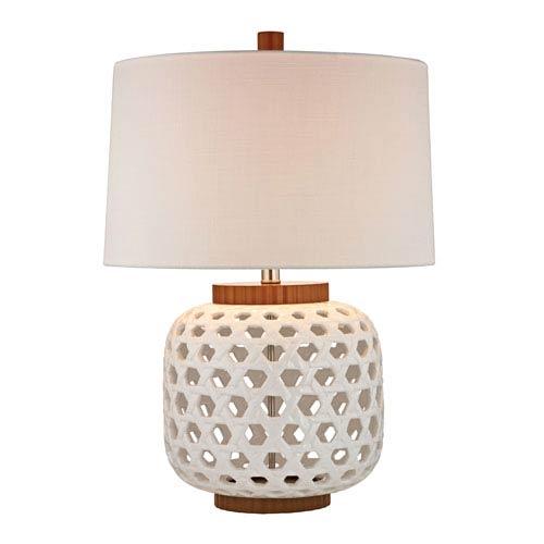 Woven Ceramic White Wood Tone LED Table Lamp