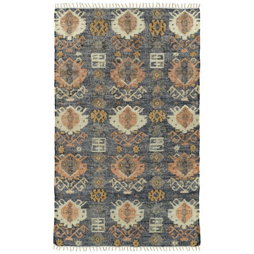 Alejandra Navy and Brown 2 Ft. 6 In. x 8 Ft. Runner Rug