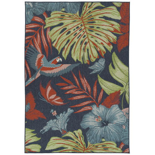 Amalie Navy Fower Rectangular: 7 Ft.2 In.X 10 Ft.5 In. Rug