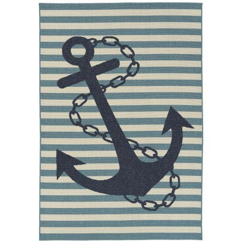 Amalie Light Blue Anchor Rectangular: 7 Ft.2 In.X 10 Ft.5 In. Rug