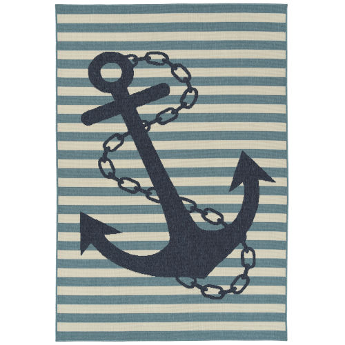 Amalie Navy Anchor Rectangular: 7 Ft.2 In.X 10 Ft.5 In. Rug