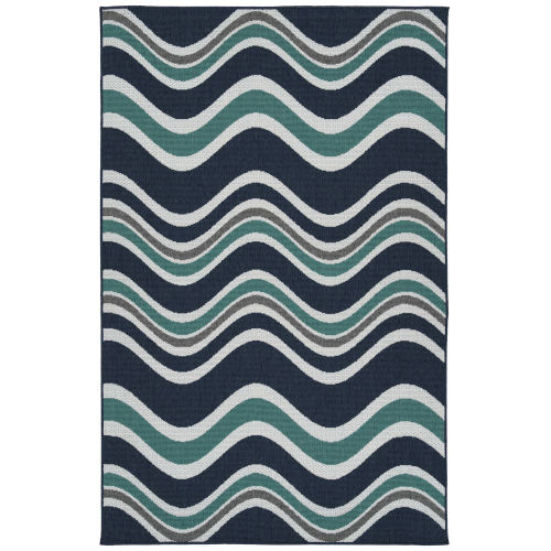 Puerto Navy Wave Rectangular: 7 Ft.2 In. x 10 Ft.5 In. Rug