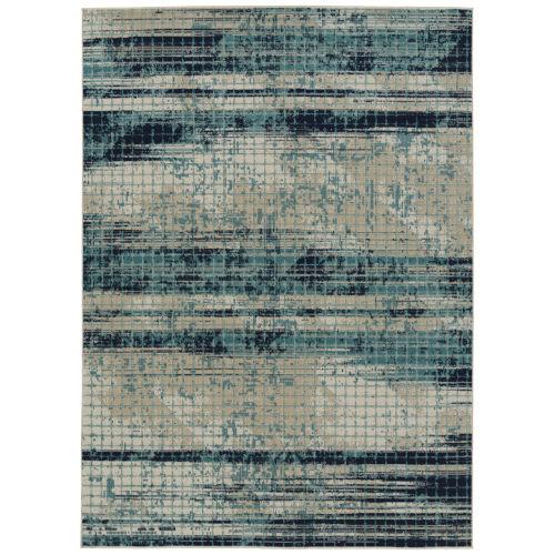 Zuma Beach Blue Wave Rectangular: 3 Ft.11 In. x 5 Ft.3 In. Rug