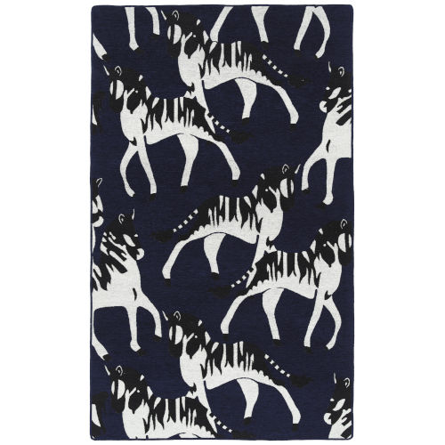 Forever Fauna Navy and White 2 Ft. x 3 Ft. Throw Rug