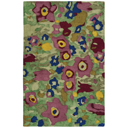 Flora Fantasies Green and Pink Indoor/Outdoor Rug