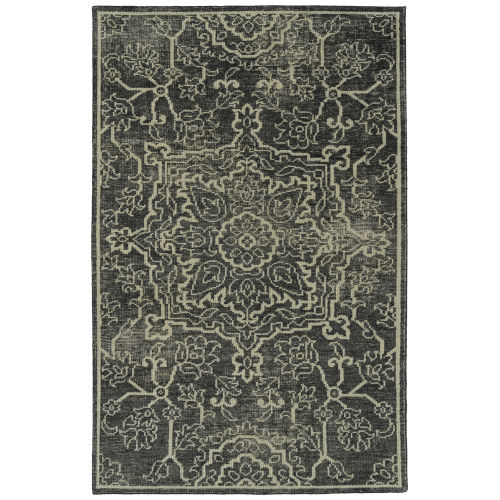 Knotted Earth Charcoal and Ivory 5 Ft. 6 In. x 8 Ft. 6 In. Area Rug