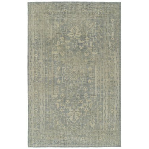 Knotted Earth Light Blue and Ivory 4 Ft. x 6 Ft. Area Rug