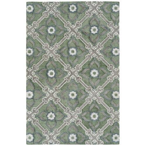 Peranakan Tile Sage and Ivory Indoor/OutdoorRug